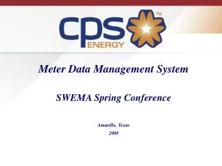 Meter Data Management System   SWEMA Spring Conference  Amarillo, Texas 2008