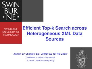 Efficient Top-k Search across Heterogeneous XML Data Sources