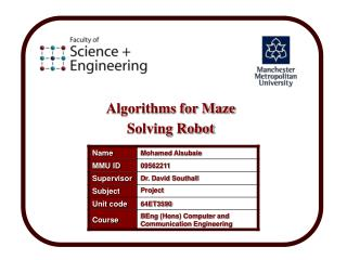 Algorithms for Maze Solving Robot