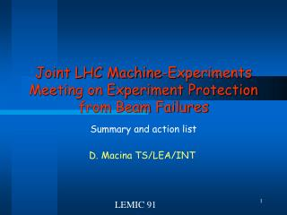 Joint LHC Machine-Experiments Meeting on Experiment Protection from Beam Failures