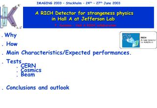 A RICH Detector for strangeness physics        in Hall A at Jefferson Lab