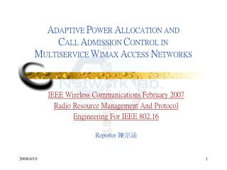 IEEE Wireless Communications February 2007 Radio Resource Management And Protocol