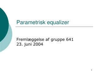 Parametrisk equalizer