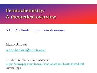 Femtochemistry:  A theoretical overview