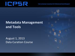 Metadata Management and Tools