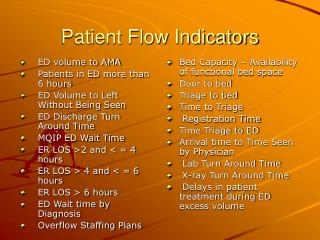Patient Flow Indicators