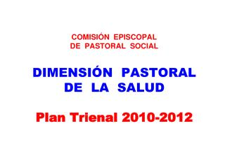 COMISI N  EPISCOPAL   DE  PASTORAL  SOCIAL  DIMENSI N  PASTORAL   DE  LA  SALUD  Plan Trienal 2010-2012
