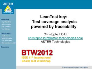 LeanTest key:  Test coverage analysis  powered by traceability