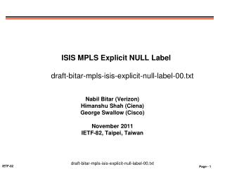 ISIS MPLS Explicit NULL Label  draft-bitar-mpls-isis-explicit-null-label-00.txt
