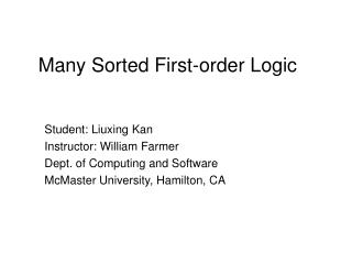 Many Sorted First-order Logic