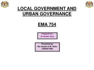LOCAL GOVERNMENT AND  URBAN GOVERNANCE  EMA 754