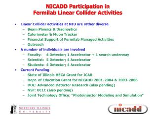 NICADD Participation in  Fermilab Linear Collider Activities