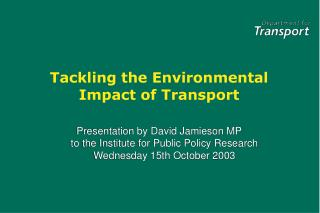 Tackling the Environmental Impact of Transport