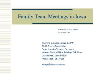 Family Team Meetings in Iowa