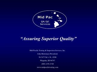 """Assuring Superior Quality"""