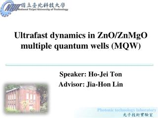Ultrafast dynamics in ZnO/ZnMgO multiple quantum wells (MQW)