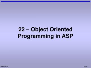 22 – Object Oriented Programming in ASP