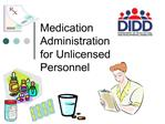 Medication Administration  for Unlicensed Personnel