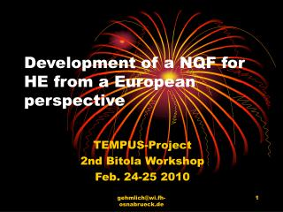 Development of a NQF for HE from a European perspective
