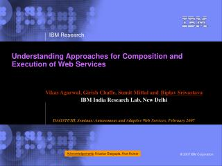 Understanding Approaches for Composition and Execution of Web Services