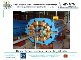 MQW magnets: results from the measuring campaign (double aperture resistive quadrupoles for LHC)