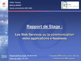 Responsable du stage :  M. Momméja Tuteur de stage :  M. Lips