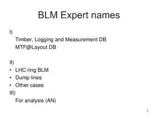 BLM Expert names