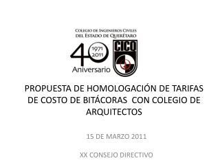 PROPUESTA DE HOMOLOGACIÓN DE TARIFAS DE COSTO DE BITÁCORAS  CON COLEGIO DE ARQUITECTOS