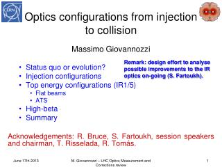 Optics configurations from injection to  collision