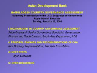 I. BACKGROUND TO COUNTRY GOVERNANCE ASSESSMENT
