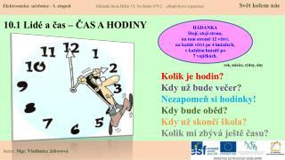 10.1 Lidé a čas – ČAS A HODINY