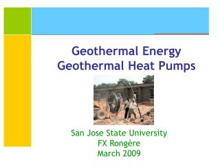 Geothermal Energy Geothermal Heat Pumps