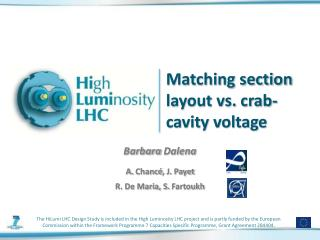 Matching section layout vs. crab-cavity voltage
