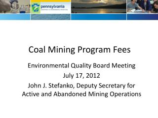 Coal Mining Program Fees
