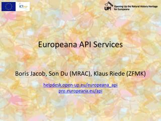 Europeana API  Services
