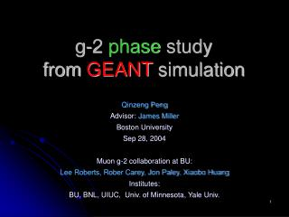g-2  phase  study  from  GEANT  simulation