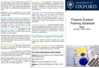 Finance Division Training Schedule