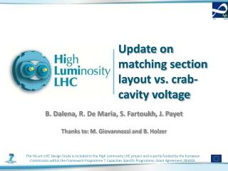 Update on matching section layout vs. crab-cavity voltage