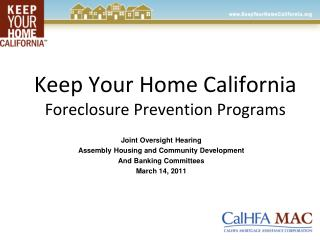 Keep Your Home California Foreclosure Prevention Programs