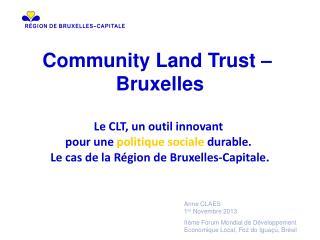 Community Land Trust –  Bruxelles Le CLT, un outil innovant