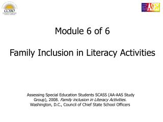 Module 6 of 6 Family Inclusion in Literacy Activities