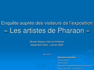 Enquête auprès des visiteurs de l'exposition «Les artistes de Pharaon»