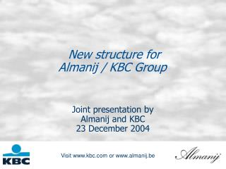 New structure for  Almanij / KBC Group