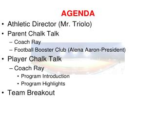 AGENDA Athletic Director (Mr. Triolo) Parent Chalk Talk Coach Ray