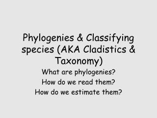 Phylogenies & Classifying species (AKA Cladistics & Taxonomy)
