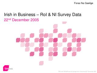 Irish in Business – RoI & NI Survey Data