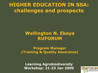 HIGHER EDUCATION IN SSA: challenges and prospects