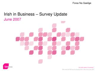 Irish in Business – Survey Update