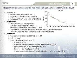 Régorafénib  dans le cancer du rein métastatique nonpréalablement traité  (1)