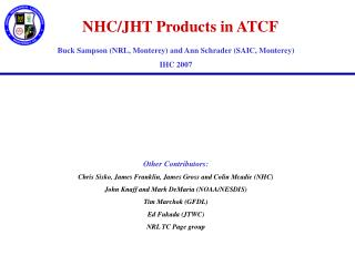NHC/JHT Products in ATCF
